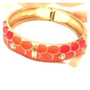 Jewelry - Cloisonné lacquer scales crystals clamper bracelet